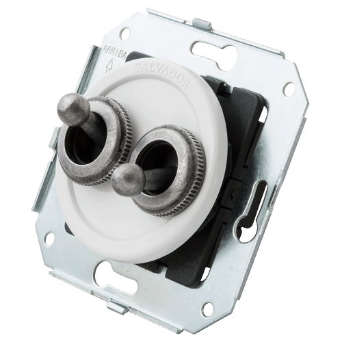 2-x Тумблерный выключатель для внутреннего монтажа Salvador Серебро