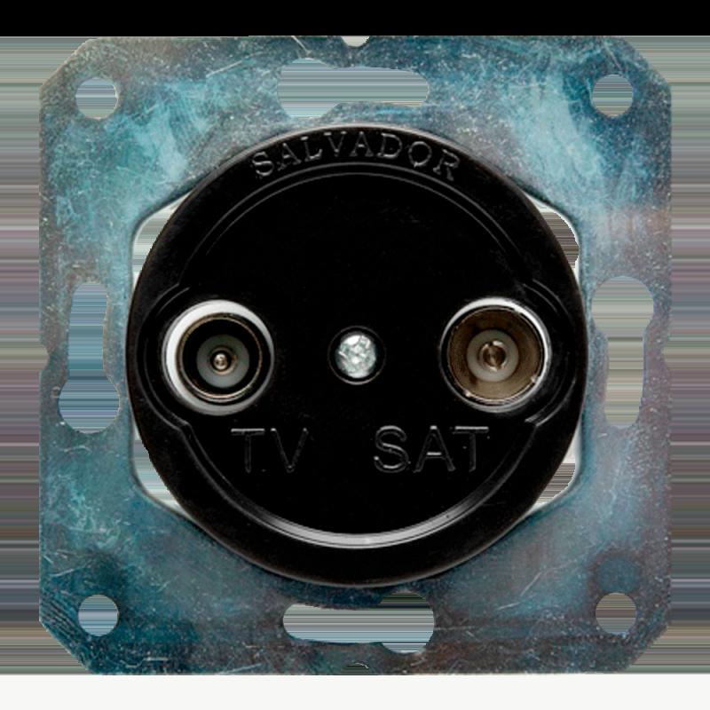 Розетка ТВ для внутреннего монтажа Salvador Ретро черная серия