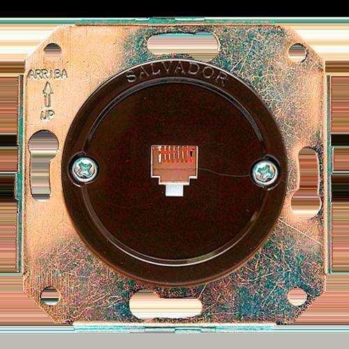 Розетка телефонная для внутреннего монтажа Salvador Ретро коричневая серия
