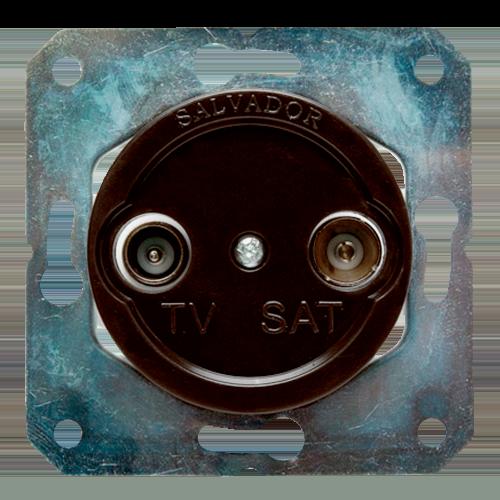 Розетка ТВ для внутреннего монтажа Salvador Ретро коричневая серия