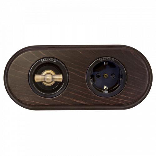 Комплект - Выключатель и розетка для внут. монтажа коричневые + рамка