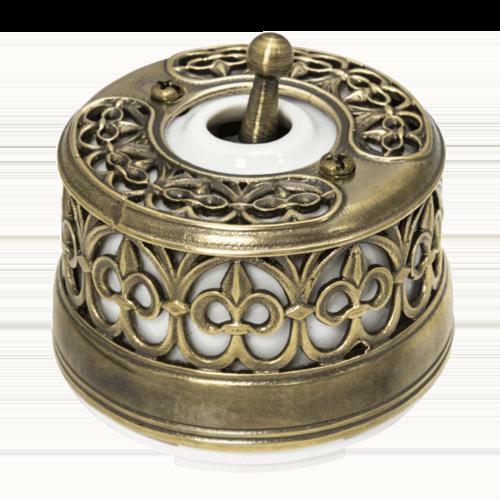 Выключатель тумблерный Salvador с декоративной накладкой Латунь