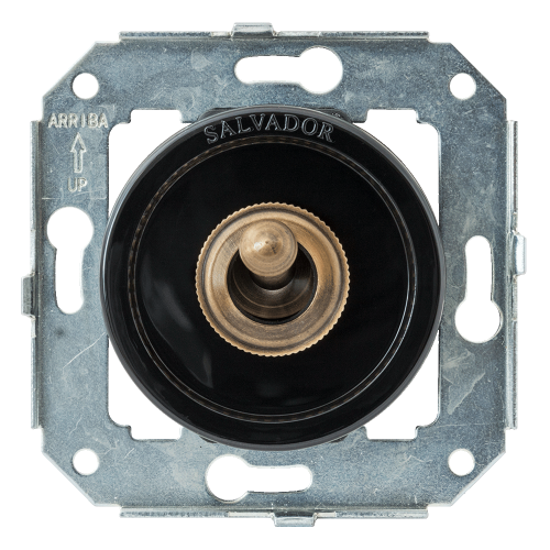 Тумблерный выключатель для внутреннего монтажа Salvador Ретро черная серия